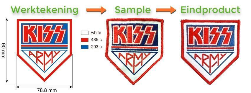 Voorbeeld van werktekening, sample en eindproduct embleem